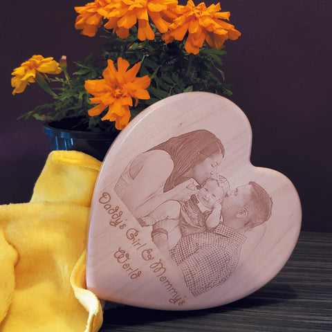Engraved Heart Shaped Wooden Plaque - Perfect Family Gift !!