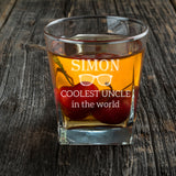 Personalised Square Whiskey Glass as Christmas Gift for UNCLE