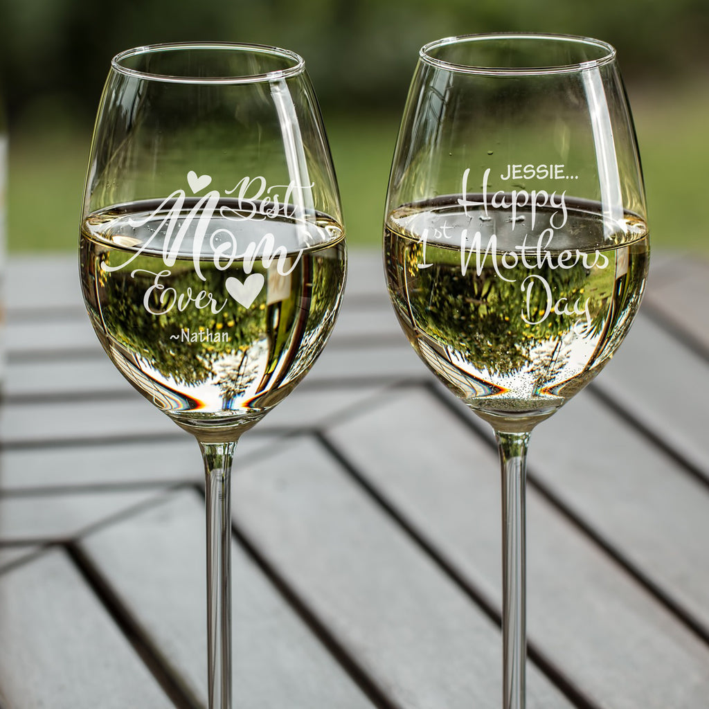 Personalised White Wine glass as mothers gift - Mothers day NZ