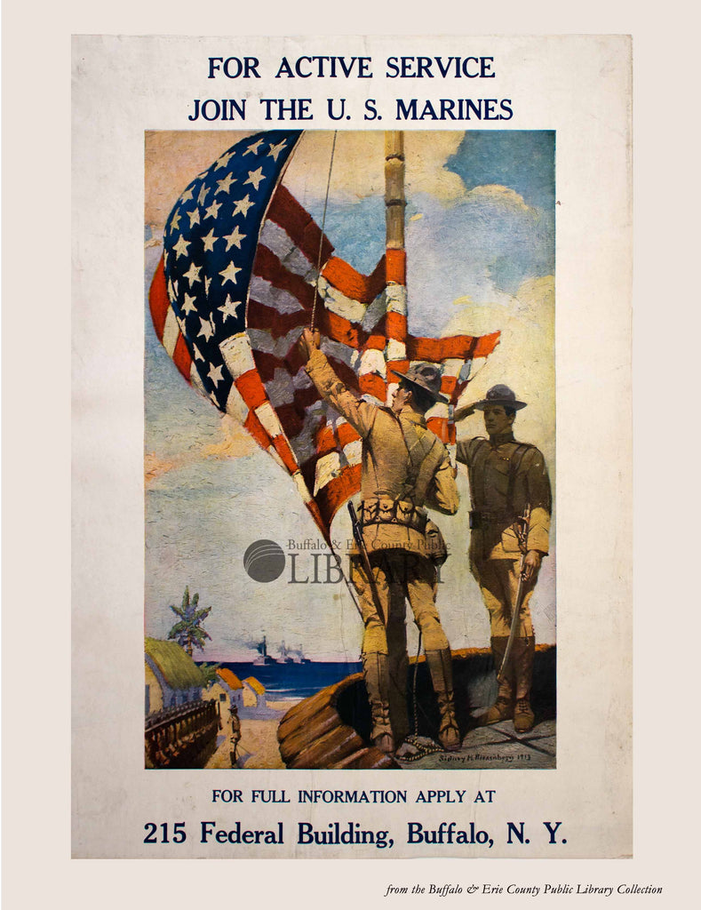 World War I Poster: Marines Active Service