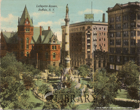 See You in Buffalo! Lafayette Square Postcard View