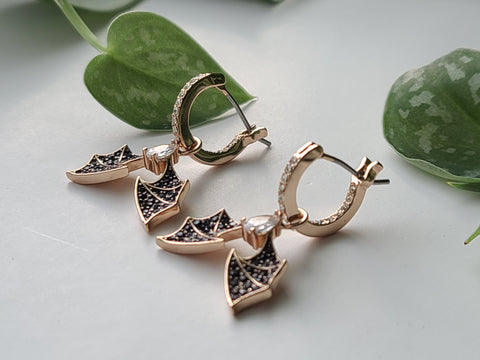 Copper Hoop Bat Earrings