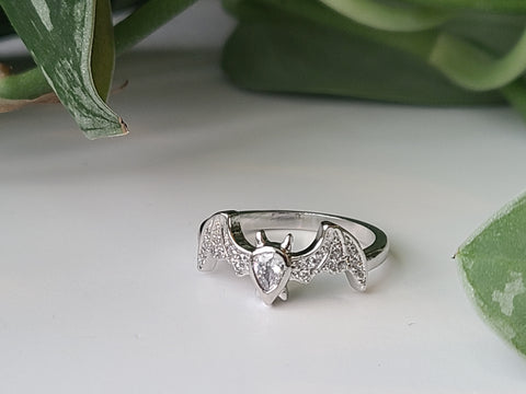 Dainty Silver Bat Ring