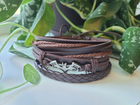 Faux Leather Stacked Bat Bracelet