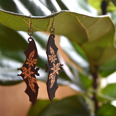 Fruit Bat Wooden Earrings