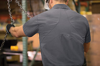 Specially designed flex panel on the back of MIMIX shirts is made with a lightweight, breathable mesh fabric.