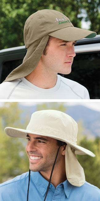 you can buy extreme outdoor hats with neck capes or sun flaps