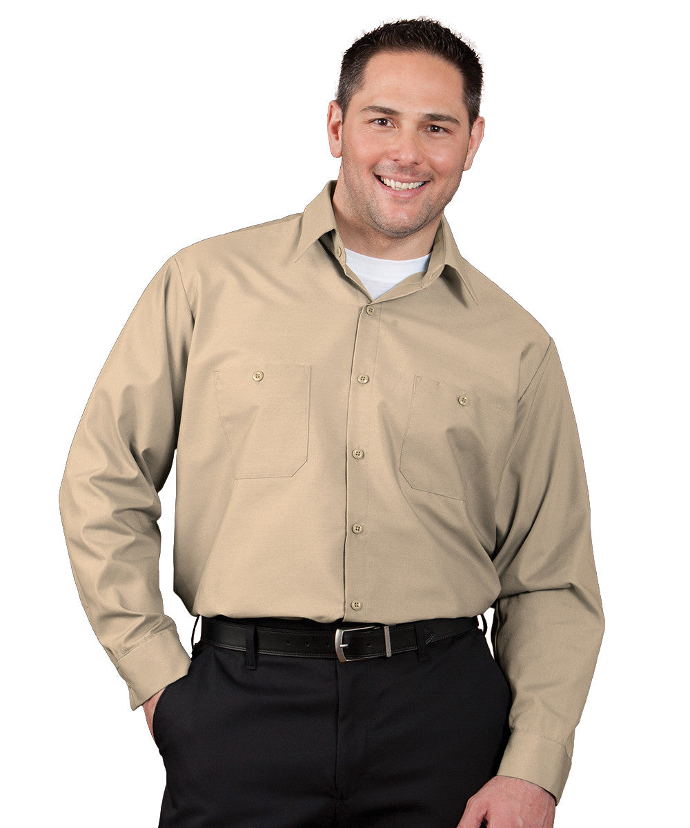Tan 100% Cotton UniWeave® Shirts Shown in UniFirst Uniform Rental Service Catalog