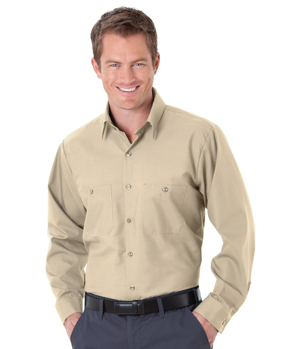 Tan UniWeave® Soft Comfort Uniform Shirts Shown in UniFirst Uniform Rental Service Catalog