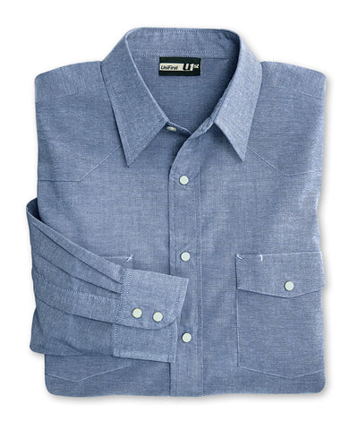 Light Blue UniFirst® Chambray Snap Shirts Shown in UniFirst Uniform Rental Service Catalog