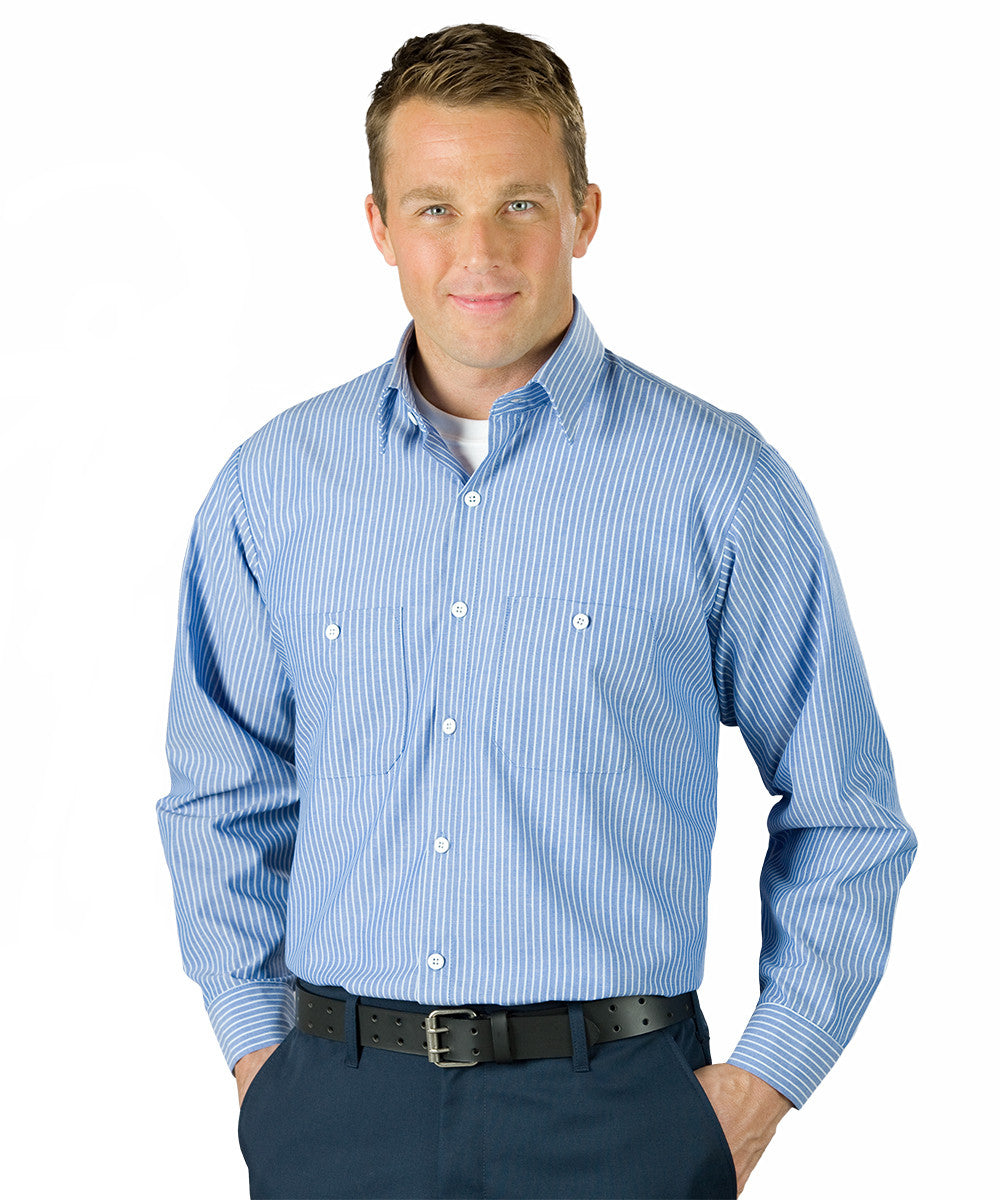 Blue/White UniWeave® Blue/White Stripe Shirts Shown in UniFirst Uniform Rental Service Catalog