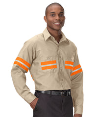 Enhanced Visibility UniWeave® Work Shirts (Tan/Orange ) Shown in UniFirst Uniform Rental Service Catalog
