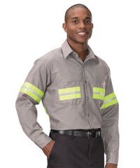 Enhanced Visibility UniWeave® Work Shirts (Grey/Yellow) Shown in UniFirst Uniform Rental Service Catalog
