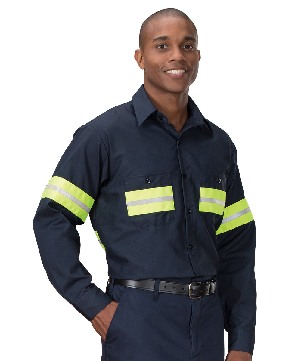 Enhanced Visibility UniWeave® Work Shirts (Navy/Yellow ) Shown in UniFirst Uniform Rental Service Catalog