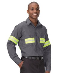 Enhanced Visibility UniWeave® Work Shirts (Charcoal/Yellow ) Shown in UniFirst Uniform Rental Service Catalog