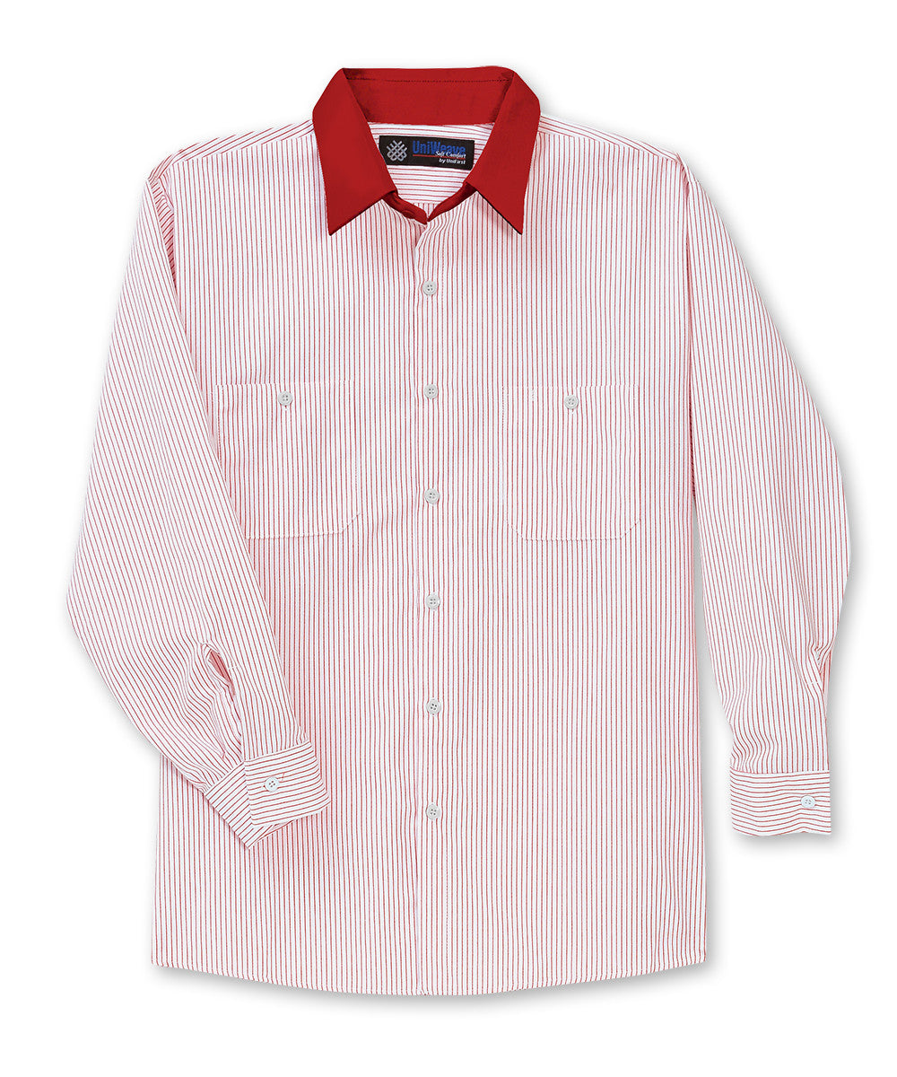 White/Red UniWeave® Contrast Collar Shirts Shown in UniFirst Uniform Rental Service Catalog