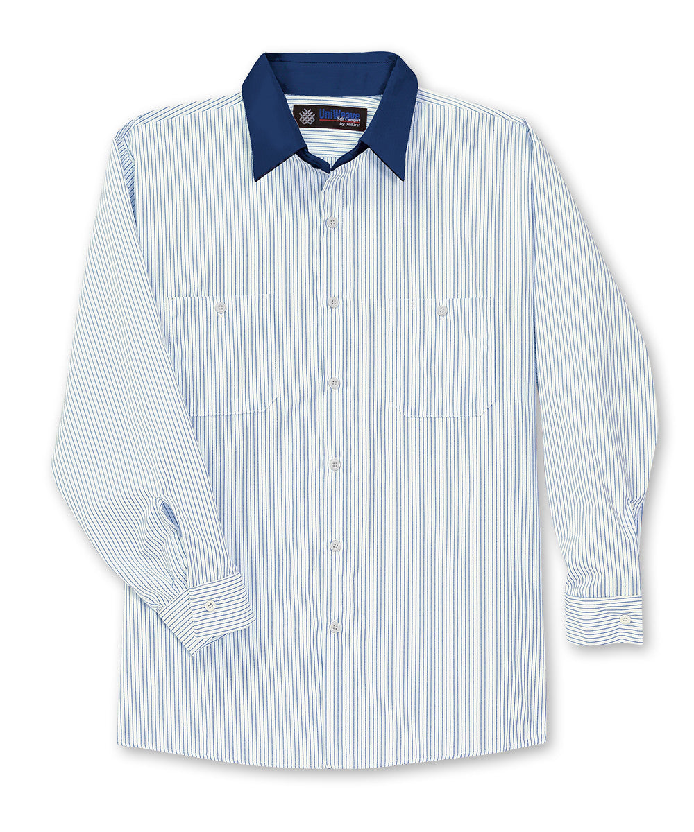 White/Blue UniWeave® Contrast Collar Shirts Shown in UniFirst Uniform Rental Service Catalog