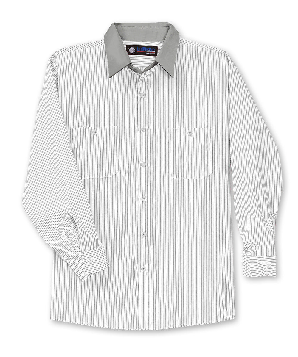 White/Lt.Grey UniWeave® Contrast Collar Shirts Shown in UniFirst Uniform Rental Service Catalog