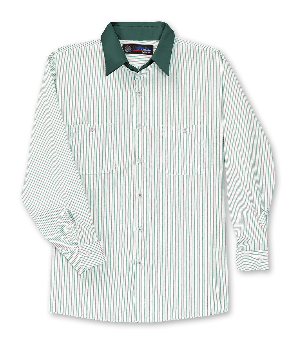 White/Spruce Green UniWeave® Contrast Collar Shirts Shown in UniFirst Uniform Rental Service Catalog