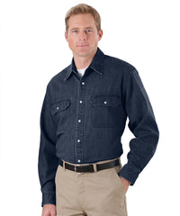 Navy Blue Snap Front Denim Shirts Shown in UniFirst Uniform Rental Service Catalog