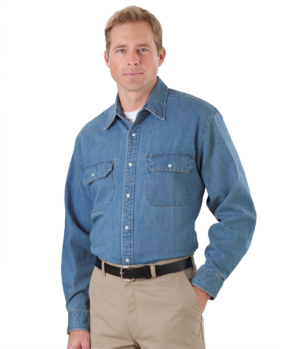Light Blue Snap Front Denim Shirts Shown in UniFirst Uniform Rental Service Catalog