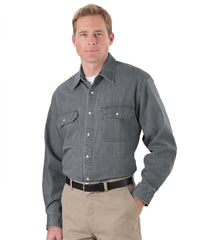 Charcoal Snap Front Denim Shirts Shown in UniFirst Uniform Rental Service Catalog