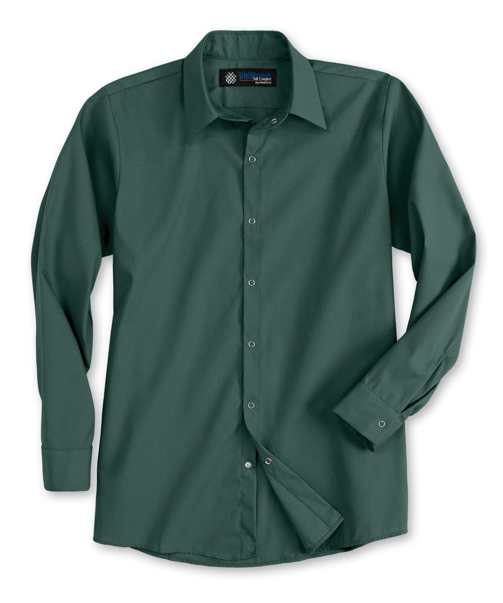 Spruce Green UniWeave® Pocketless Food Service Shirts Shown in UniFirst Uniform Rental Service Catalog