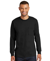 Men's 100% Cotton Long Sleeve Pocket T-Shirts (Black) as shown in the UniFirst Uniform Rental Catalog.