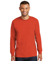 Men's 100% Cotton Long Sleeve Pocket T-Shirts (Orange) as shown in the UniFirst Uniform Rental Catalog.