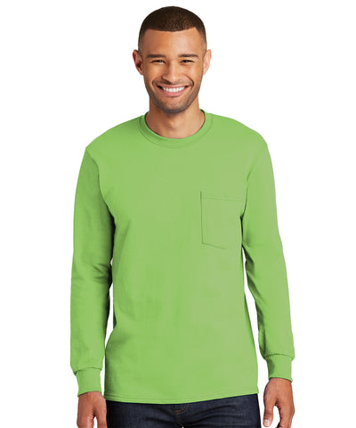 Men's 100% Cotton Long Sleeve Pocket T-Shirts
