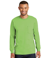 Men's 100% Cotton Long Sleeve Pocket T-Shirts (Lime Green) as shown in the UniFirst Uniform Rental Catalog.