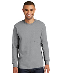 Men's 100% Cotton Long Sleeve Pocket T-Shirts (Athletic Heather) as shown in the UniFirst Uniform Rental Catalog.