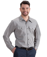 Grey Flame Resistant Button Front Work Shirts by Bulwark Shown in UniFirst Uniform Rental Service Catalog
