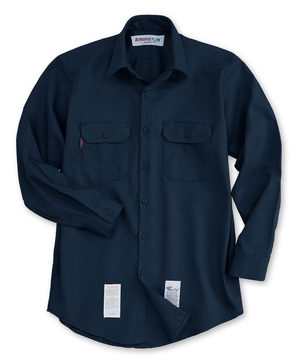 Navy Blue Armorex FR® Arc Rated Flame Resistant Work Shirts Shown in UniFirst Uniform Rental Service Catalog