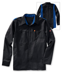 Men's OilBlok Performance Shirts in Black/Royal as shown in the UniFirst UniForm Rental Catalog
