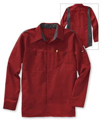 Men's OilBlok Performance Shirts in Red/Charcoal as shown in the UniFirst UniForm Rental Catalog
