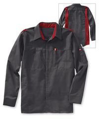 Men's OilBlok Performance Shirts in Charcoal/Red as shown in the UniFirst UniForm Rental Catalog