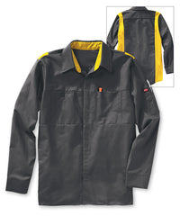 Men's OilBlok Performance Shop Shirts in Dk. Grey/Yellow as shown in the UniFirst UniForm Rental Catalog