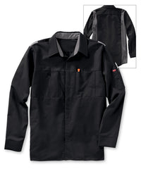 Men's OilBlok Performance Shirts in Black/Charcoal as shown in the UniFirst UniForm Rental Catalog