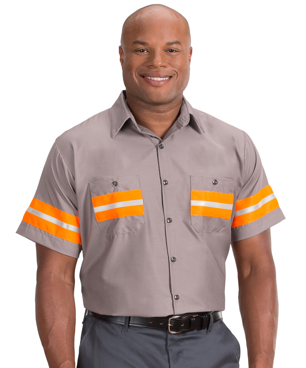 Grey/Orange Enhanced Visibility UniWeave® Work Shirts Shown in UniFirst Uniform Rental Service Catalog