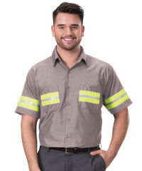 Grey/Yellow Enhanced Visibility UniWeave® Work Shirts Shown in UniFirst Uniform Rental Service Catalog
