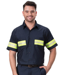 Navy/Yellow Enhanced Visibility UniWeave® Work Shirts Shown in UniFirst Uniform Rental Service Catalog