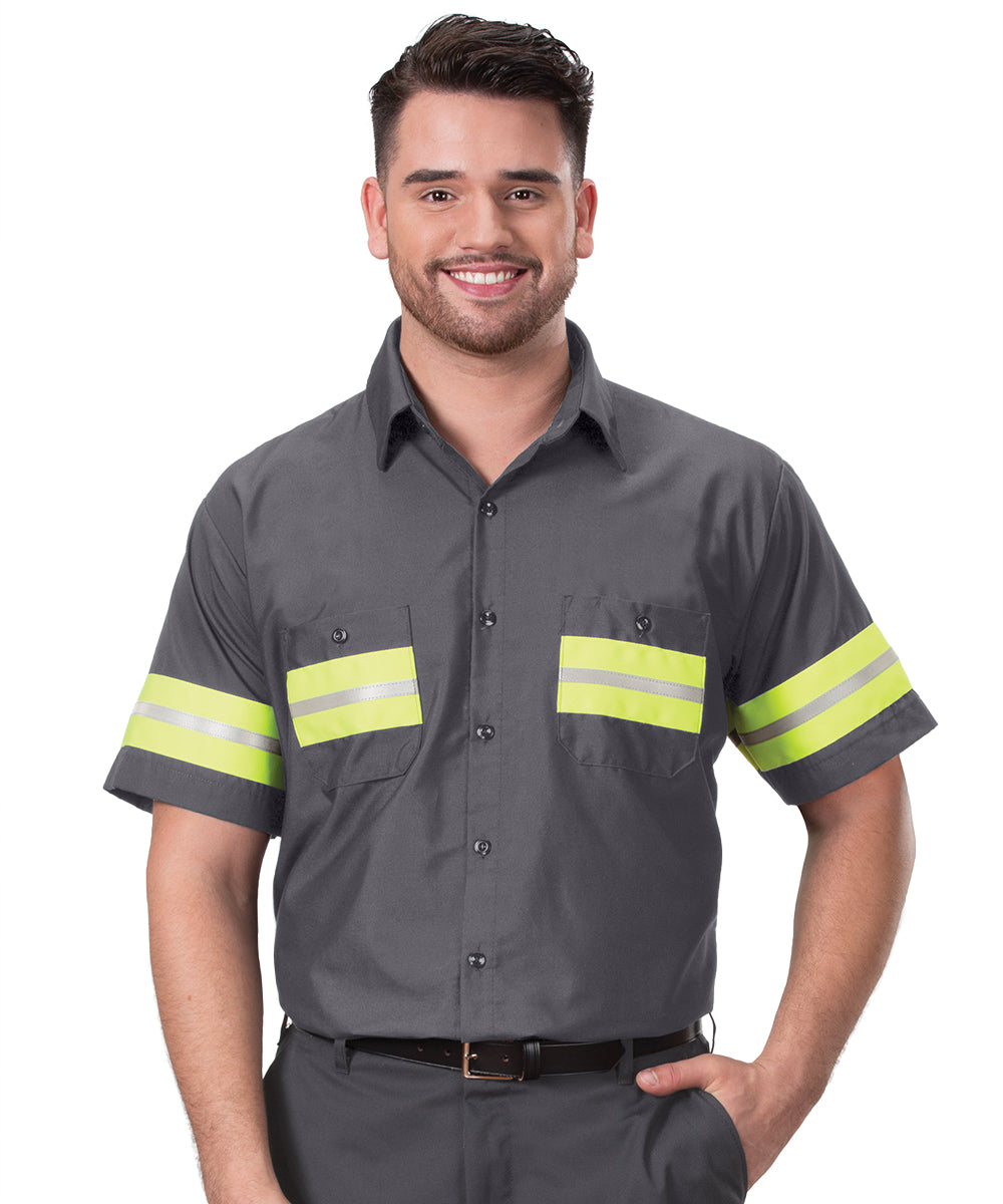 Enhanced Visibility UniWeave® Work Shirts (Charcoal/Yellow  Shown in UniFirst Uniform Rental Service Catalog