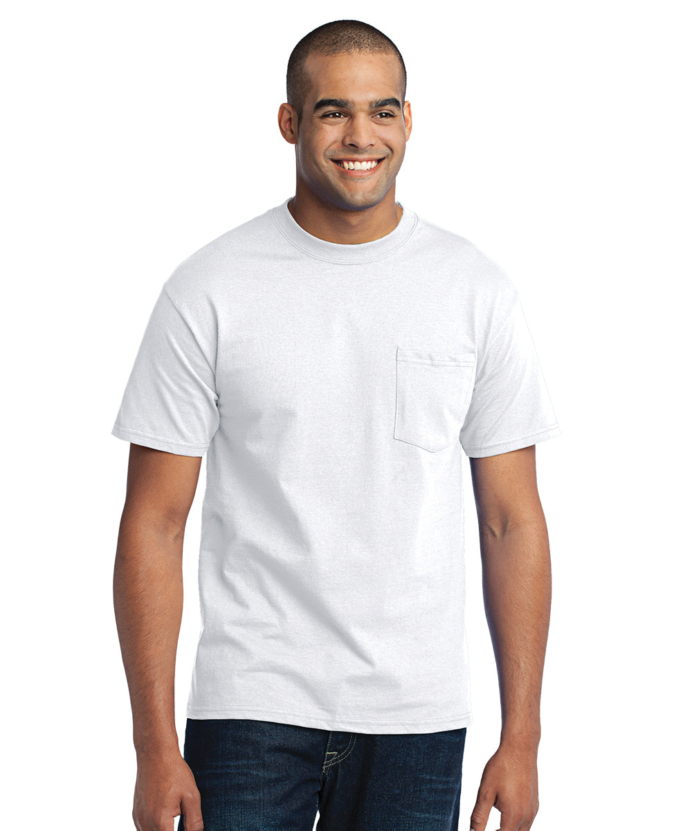 Men's Short Sleeve Pocket T-Shirts (White) as shown in the UniFirst Uniform Rental Catalog.