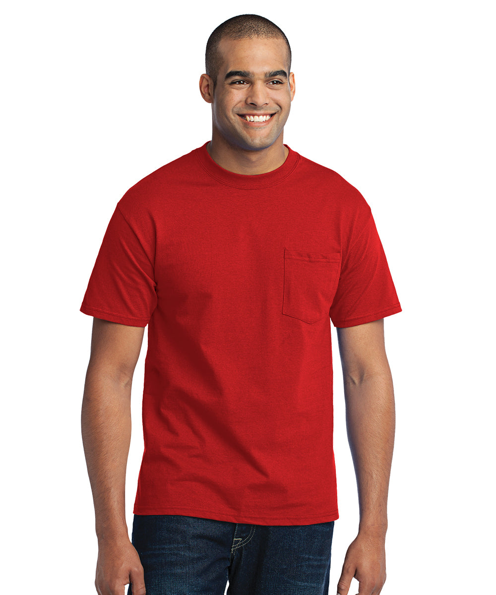 Men's Short Sleeve Pocket T-Shirts (Red) as shown in the UniFirst Uniform Rental Catalog.