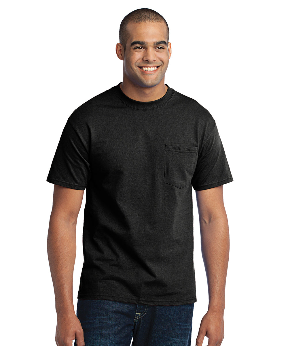 Men's Short Sleeve Pocket T-Shirts (Black) as shown in the UniFirst Uniform Rental Catalog.