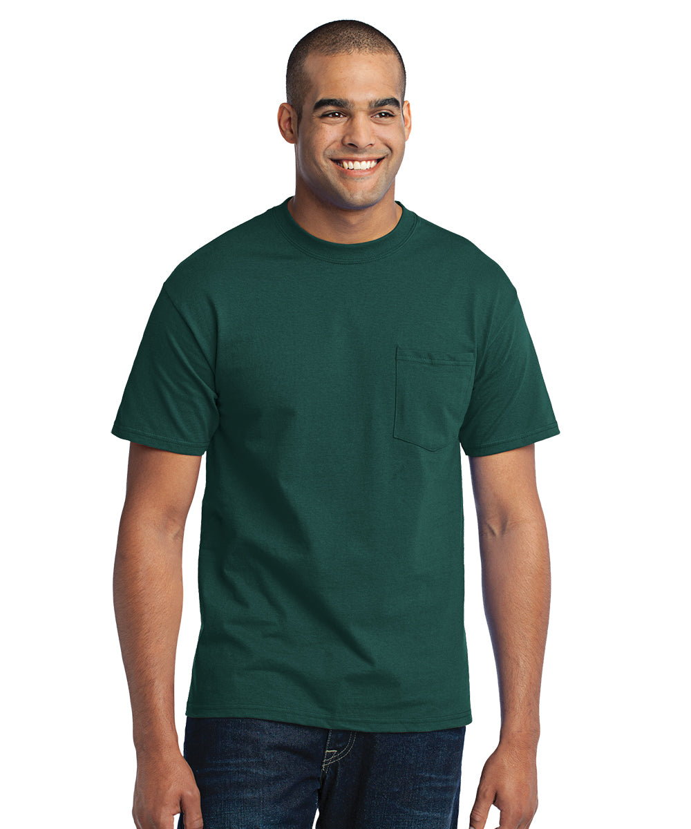 Men's Short Sleeve Pocket T-Shirts (Dark Green) as shown in the UniFirst Uniform Rental Catalog.