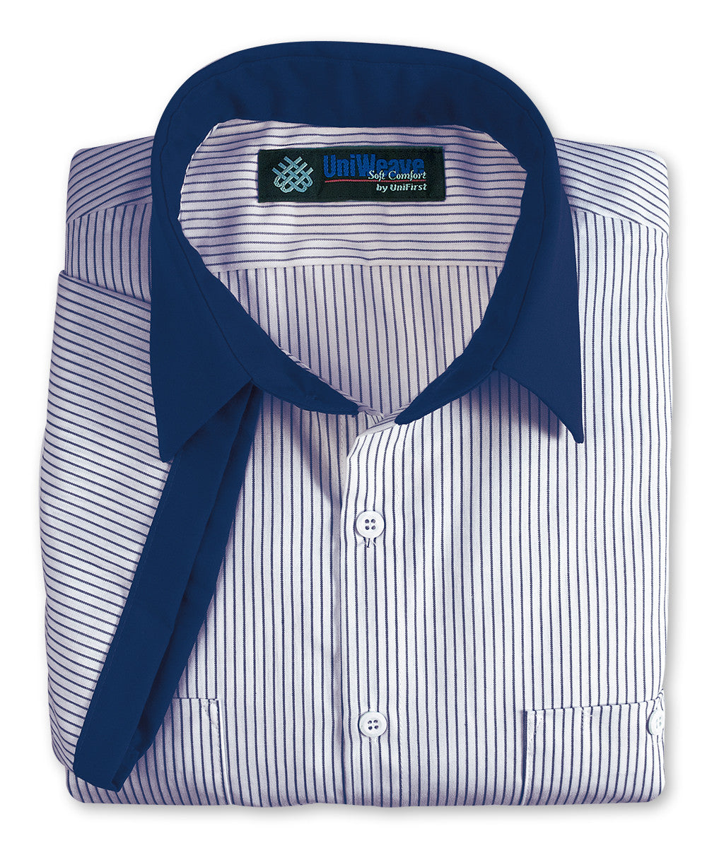 White/Blue UniWeave® Contrast Collar Uniform Shirts Shown in UniFirst Uniform Rental Service Catalog