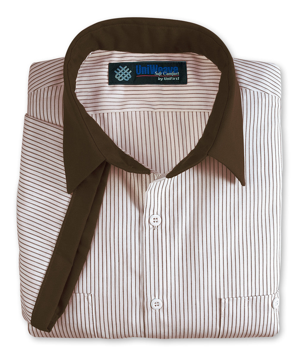 Brown & White UniWeave® Contrast Collar Uniform Shirts Shown in UniFirst Uniform Rental Service Catalog