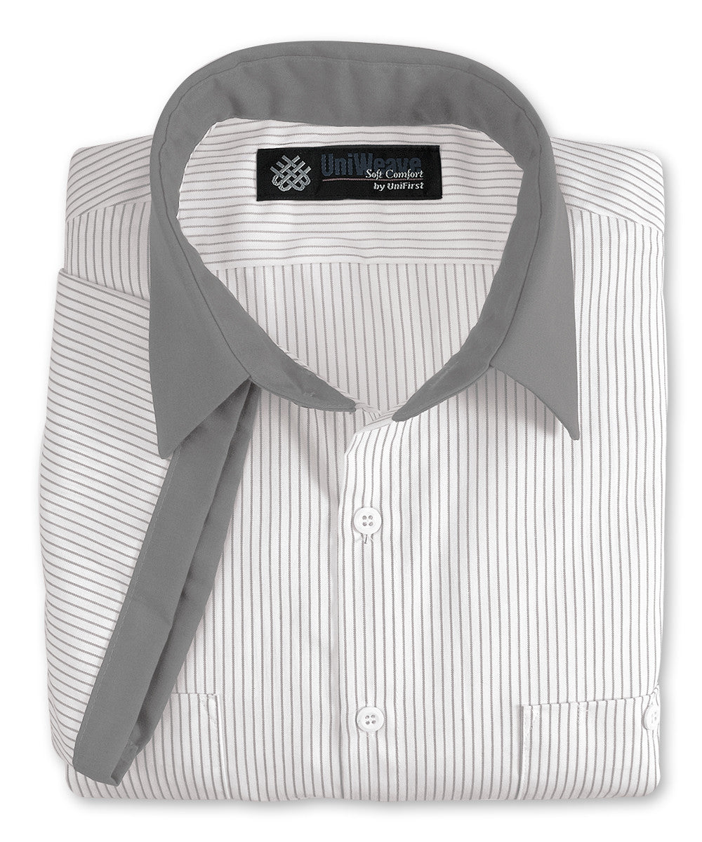 White/Lt.Grey UniWeave® Contrast Collar Uniform Shirts Shown in UniFirst Uniform Rental Service Catalog